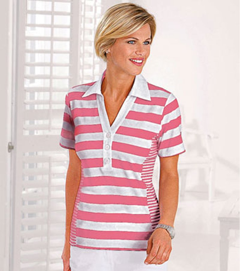 Camiseta polo mujer 100% algodón - Rosa