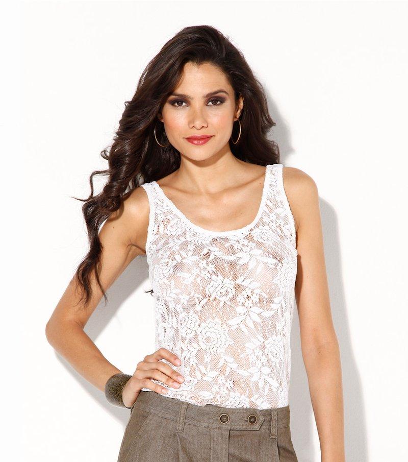 Camiseta mujer sin mangas de blonda y punto