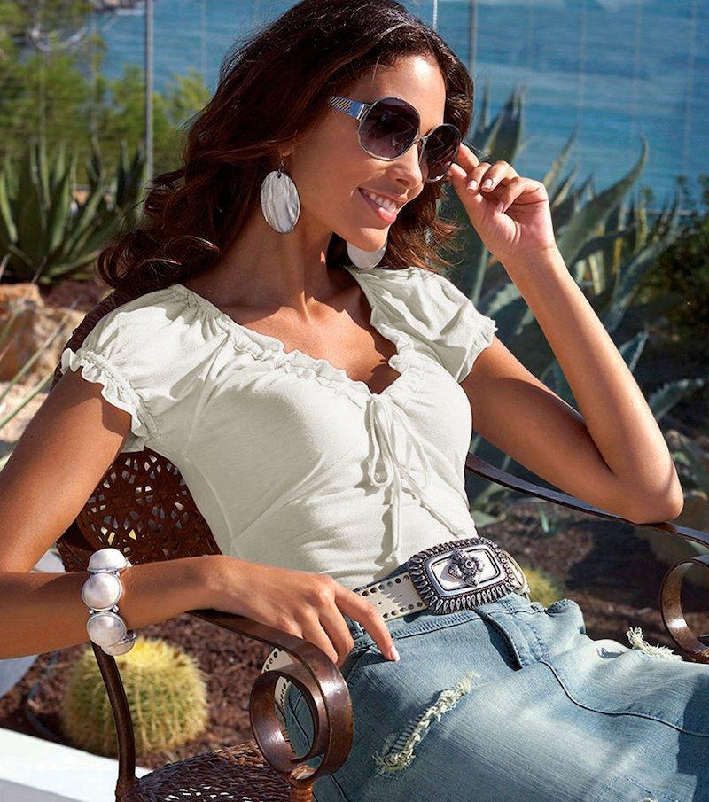 Camiseta mujer manga corta con detalles elásticos