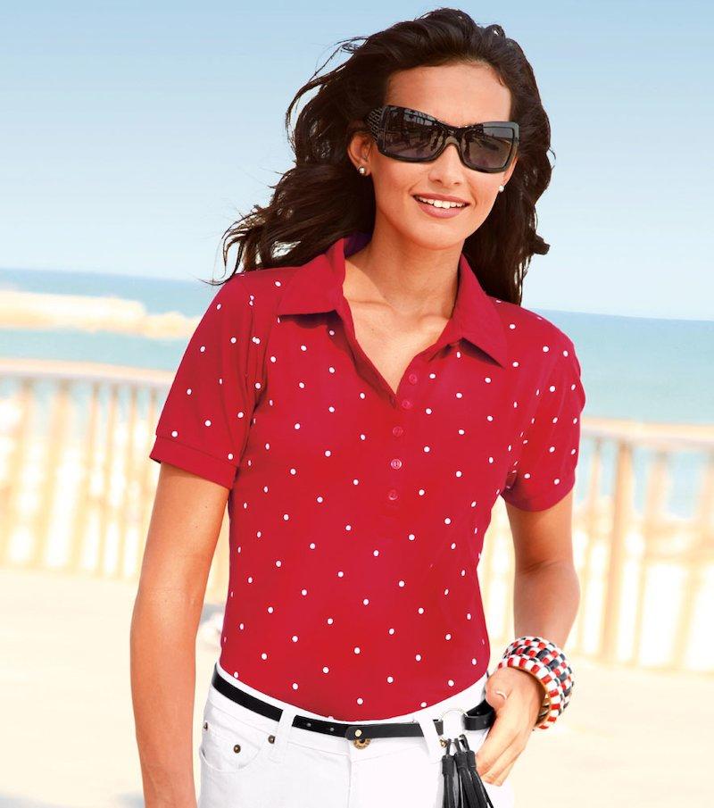 Camiseta polo mujer manga corta punto elástico