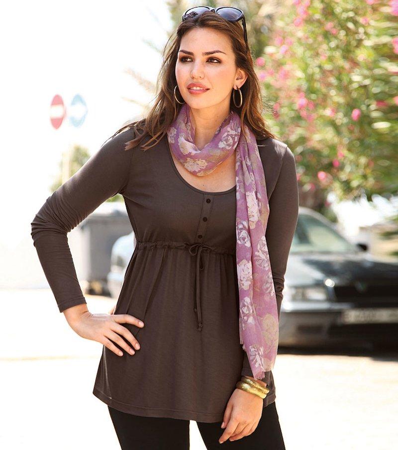 Camiseta larga mujer corte imperio con cordón