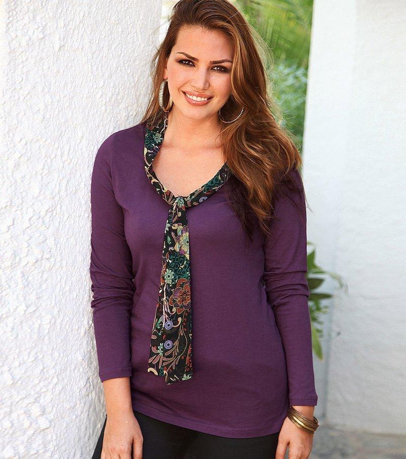 Camiseta mujer manga larga de algodón con lazo