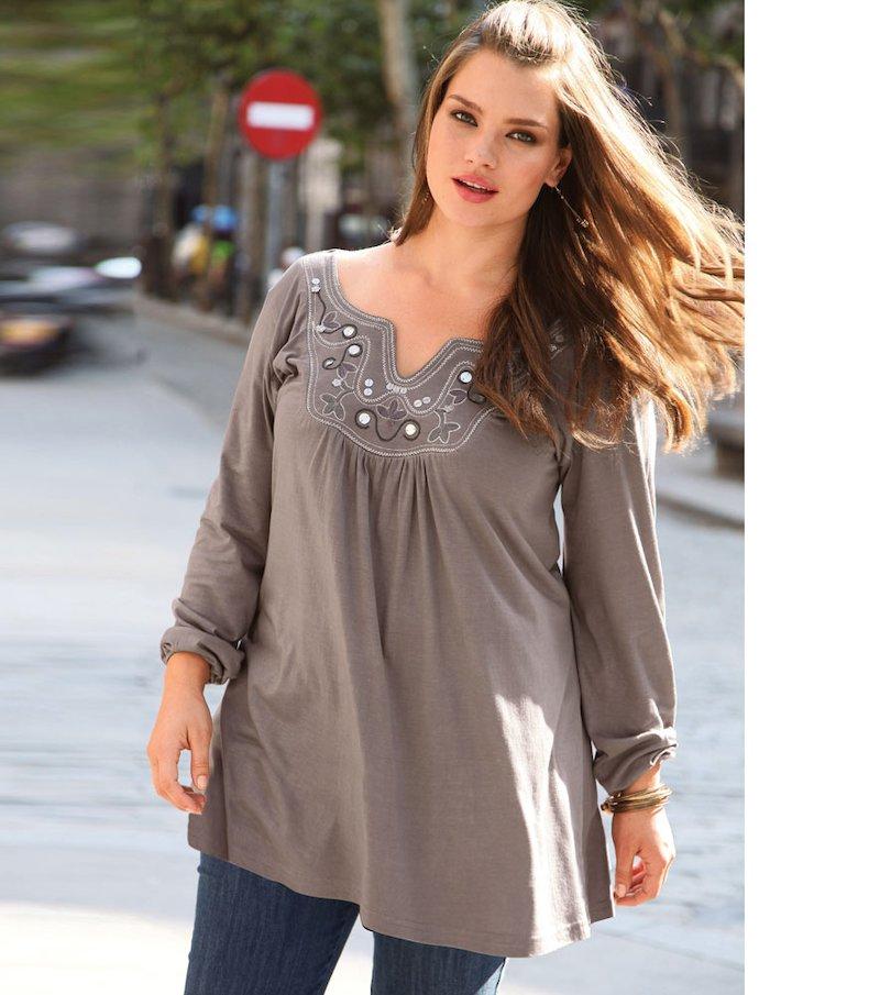 Camiseta mujer manga larga bordada de algodón