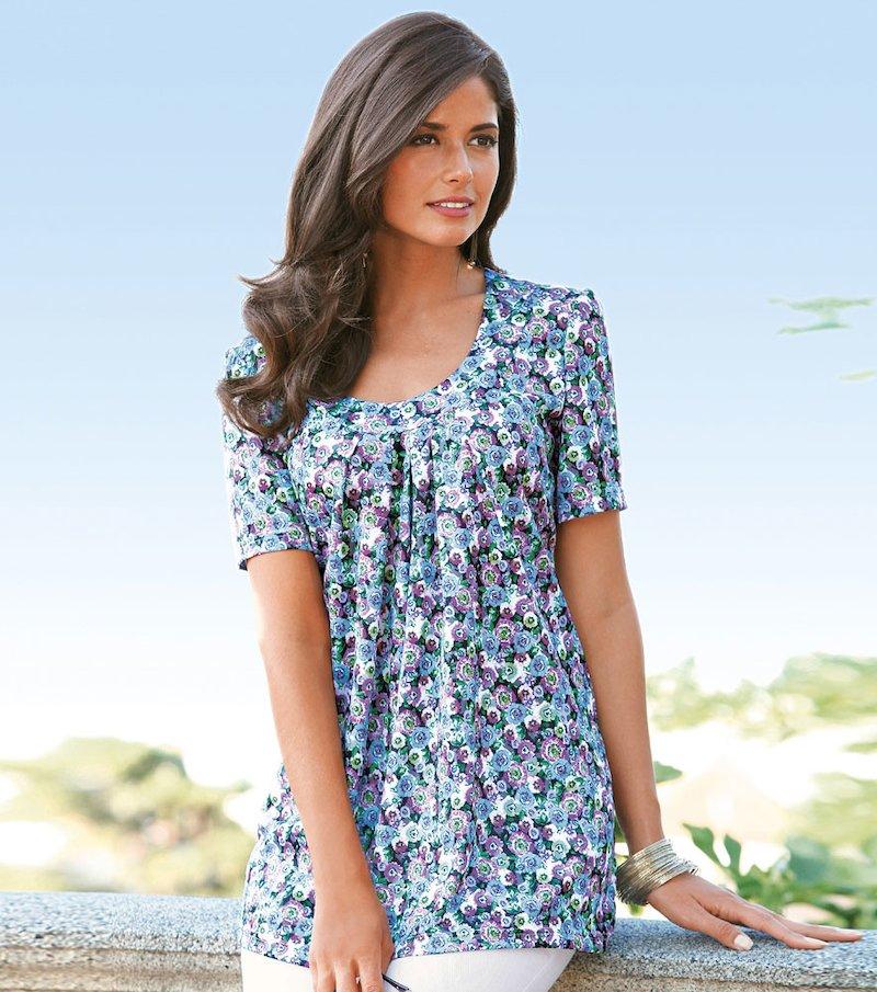 Camiseta mujer manga corta 100% algodón - Azul