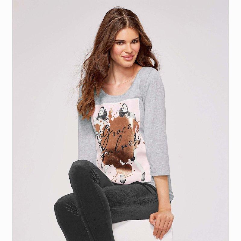 Camiseta manga 3/4 mujer con estampado foil