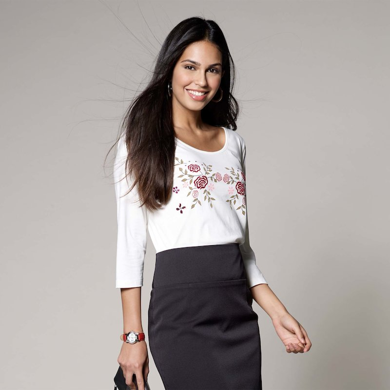 Camiseta mujer estampado flocado