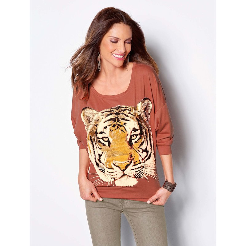 Camiseta mujer manga 3/4 estampado print animal