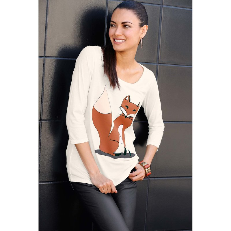 Camiseta mujer manga 3/4 estampado zorro