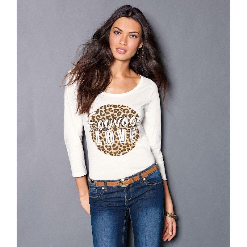 Camiseta de mujer manga 3/4  con estampado animal