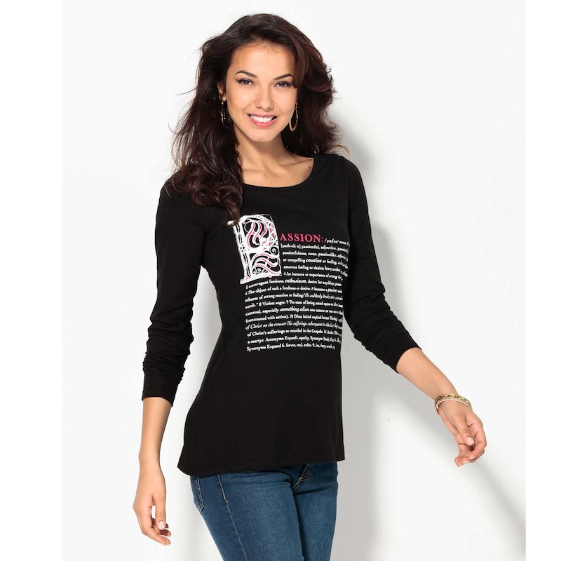 Camiseta mujer manga larga estampada leyenda