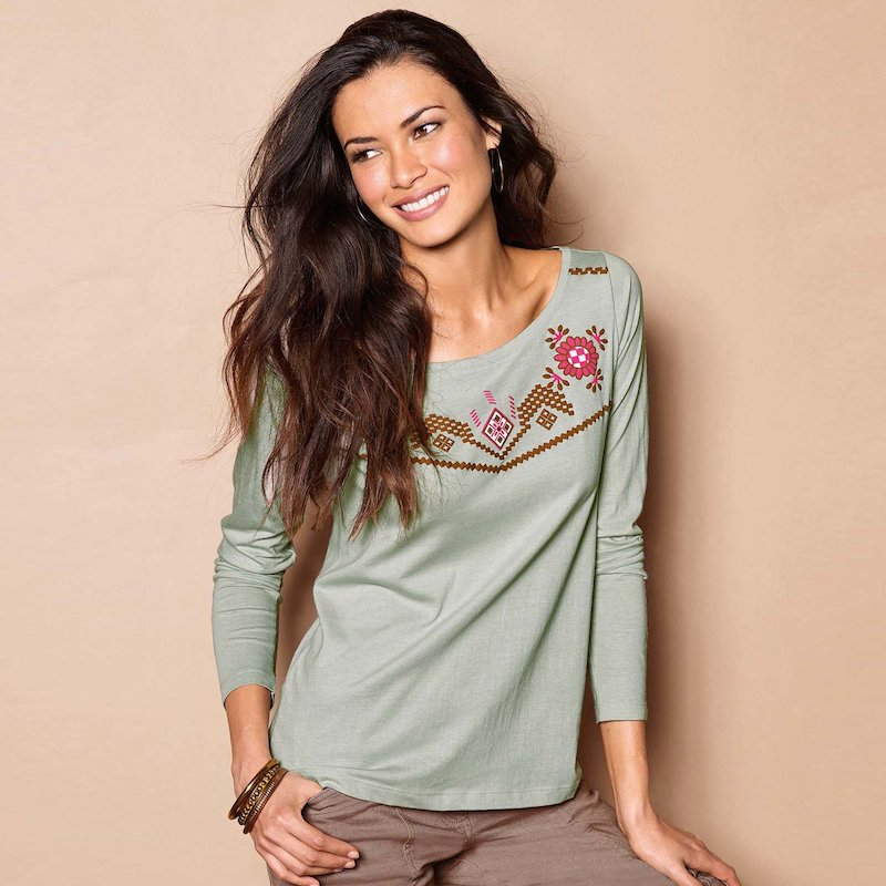 Camiseta mujer manga larga estampado étnico