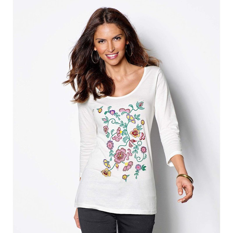 Camiseta mujer manga 3/4 estampado colorista