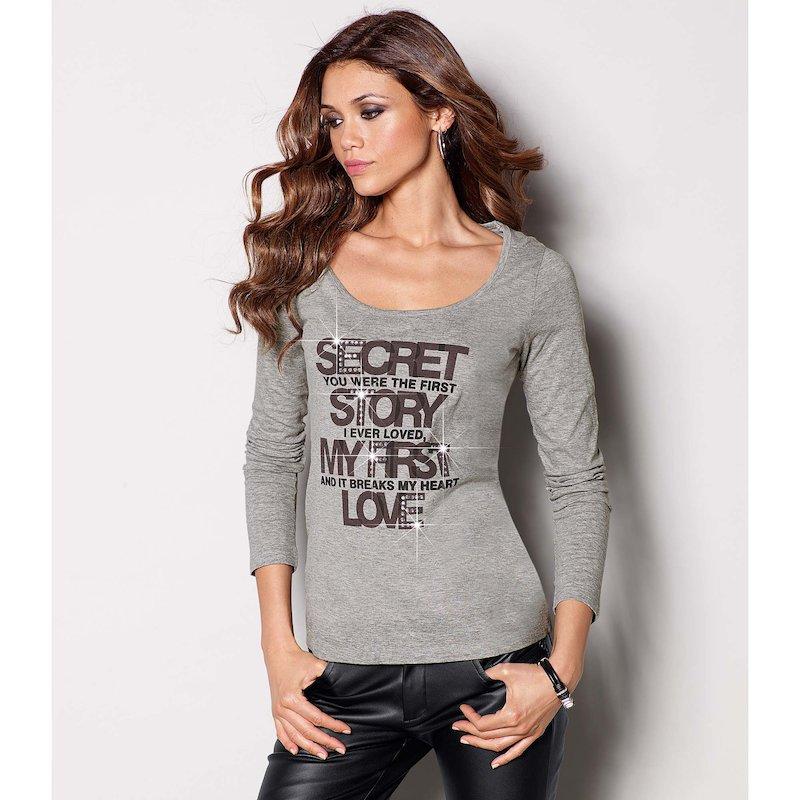 Camiseta mujer manga larga con strass Secret