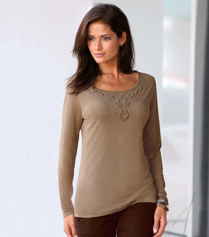 Camiseta mujer manga larga con estampado - Beige