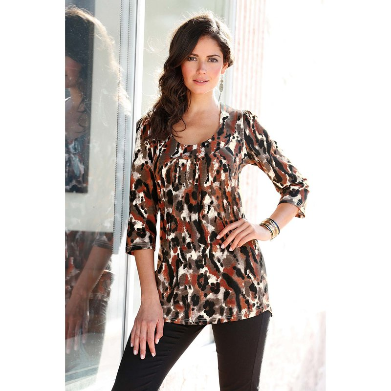 Camiseta larga mujer manga 3/4 estampada camuflaje