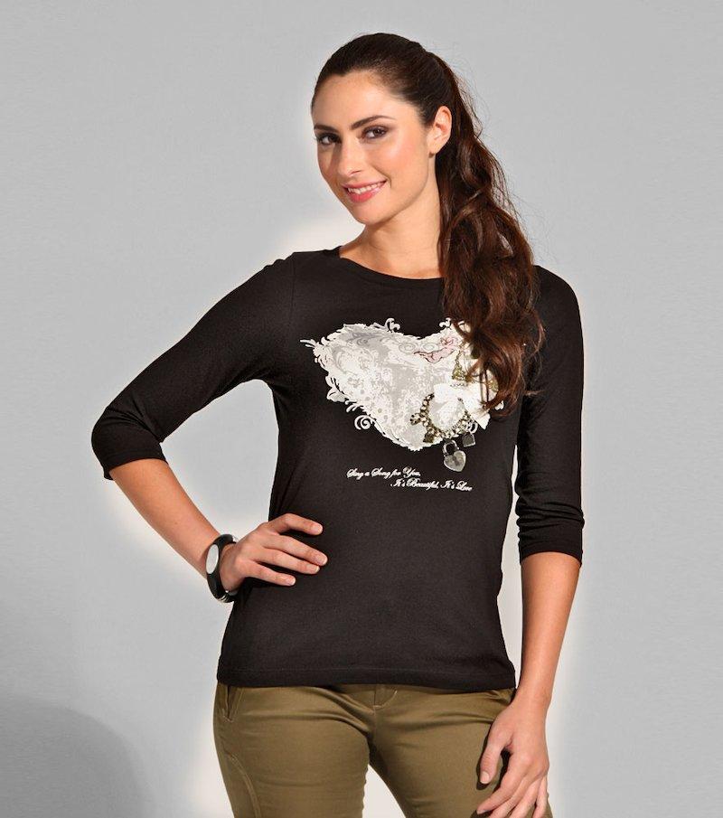 Camiseta mujer manga 3/4 estampada 100% algodón