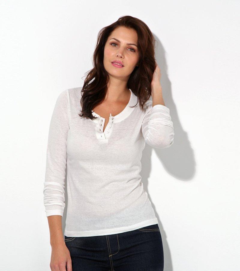 Camiseta mujer manga larga 100% algodón - Beige