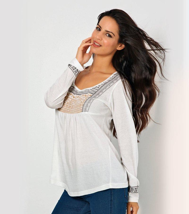 Camiseta mujer manga larga estampada 100% algodón
