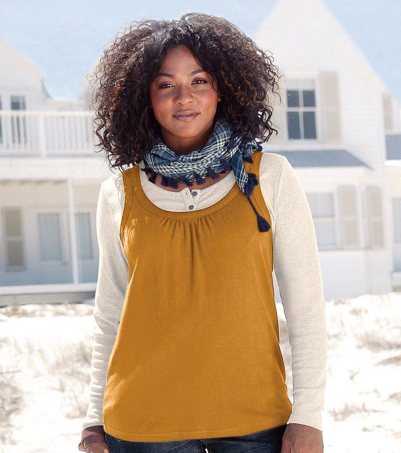 Camiseta mujer efecto doble 100% algodón