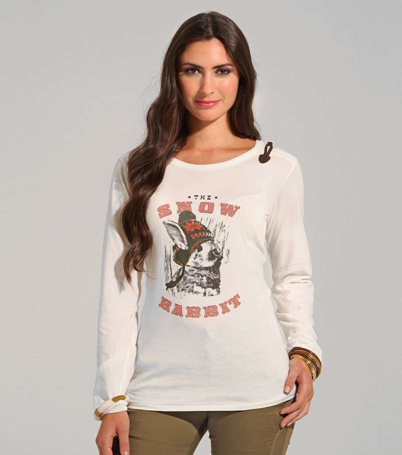 Camiseta mujer manga larga estampada de algodón.