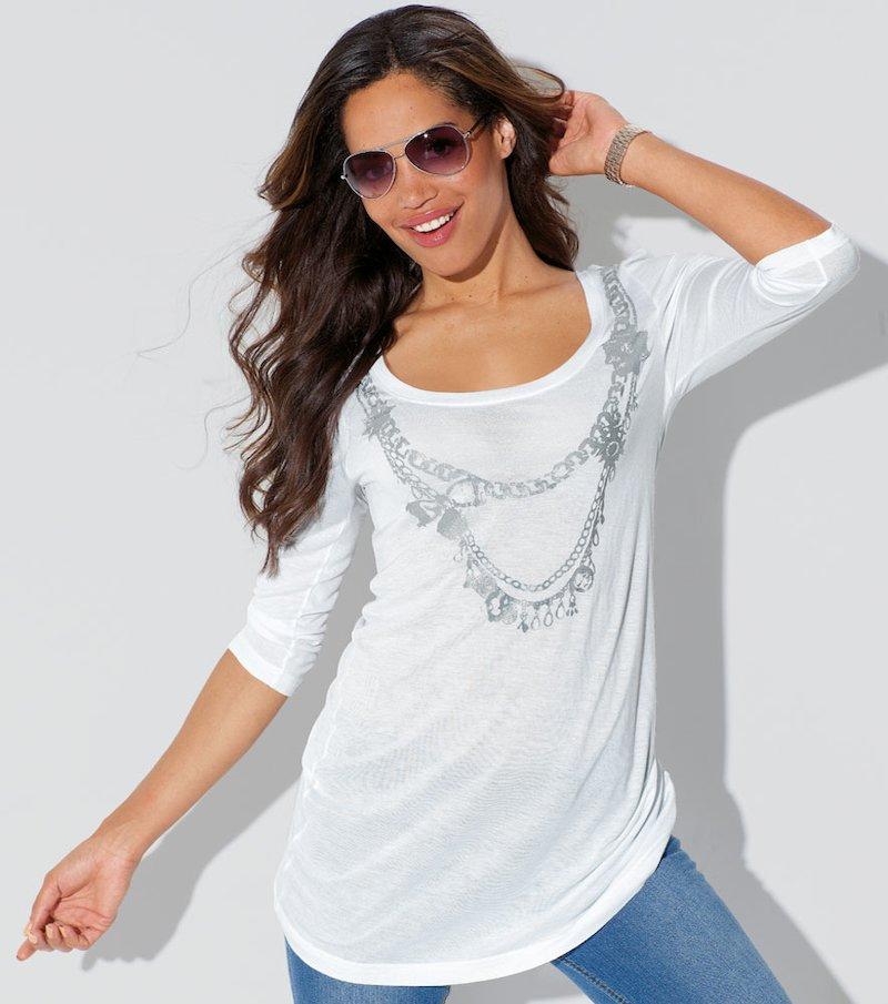 Camiseta mujer estampado metalizado