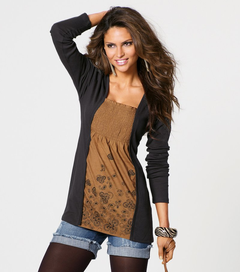 Camiseta mujer manga larga efecto doble chaqueta
