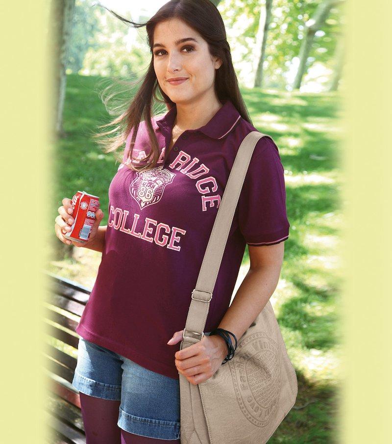 Camiseta polo mujer manga corta 100% algodón