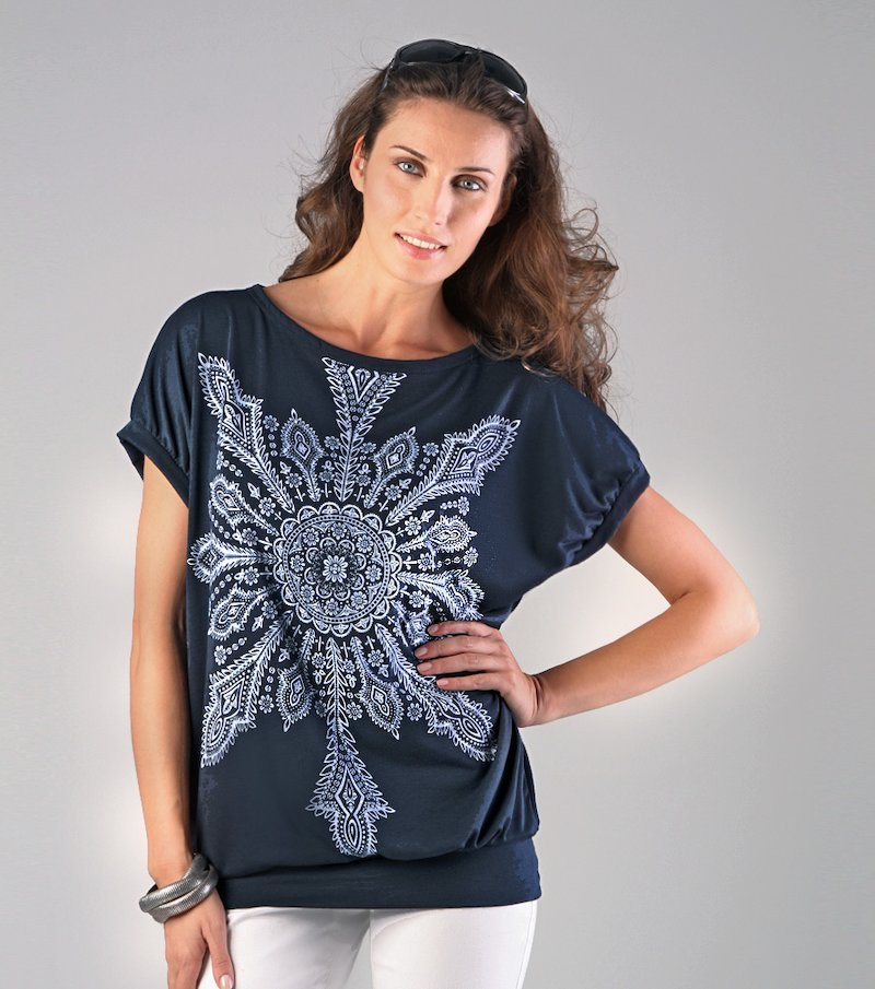 Camiseta larga mujer estampada punto elástico