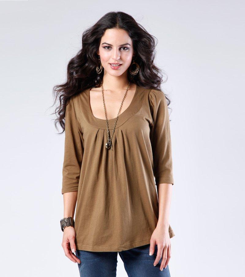 Camiseta larga mujer manga 3/4 100% algodón