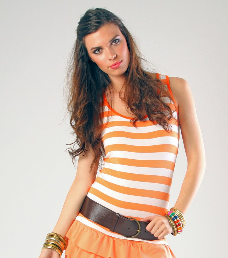 Camiseta de mujer sin mangas a rayas - Naranja