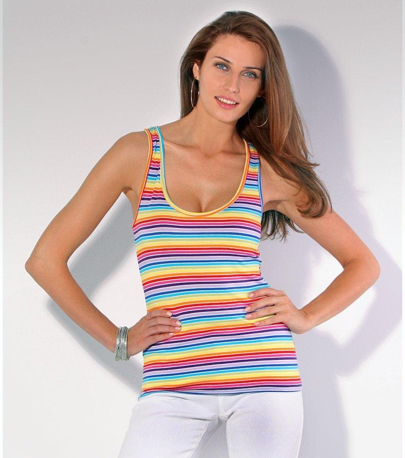 Camiseta mujer sin mangas estampada rayas