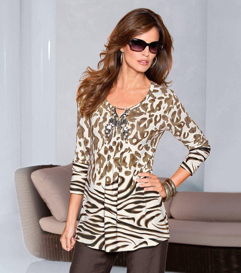 Camiseta túnica mujer manga larga con lentejuelas