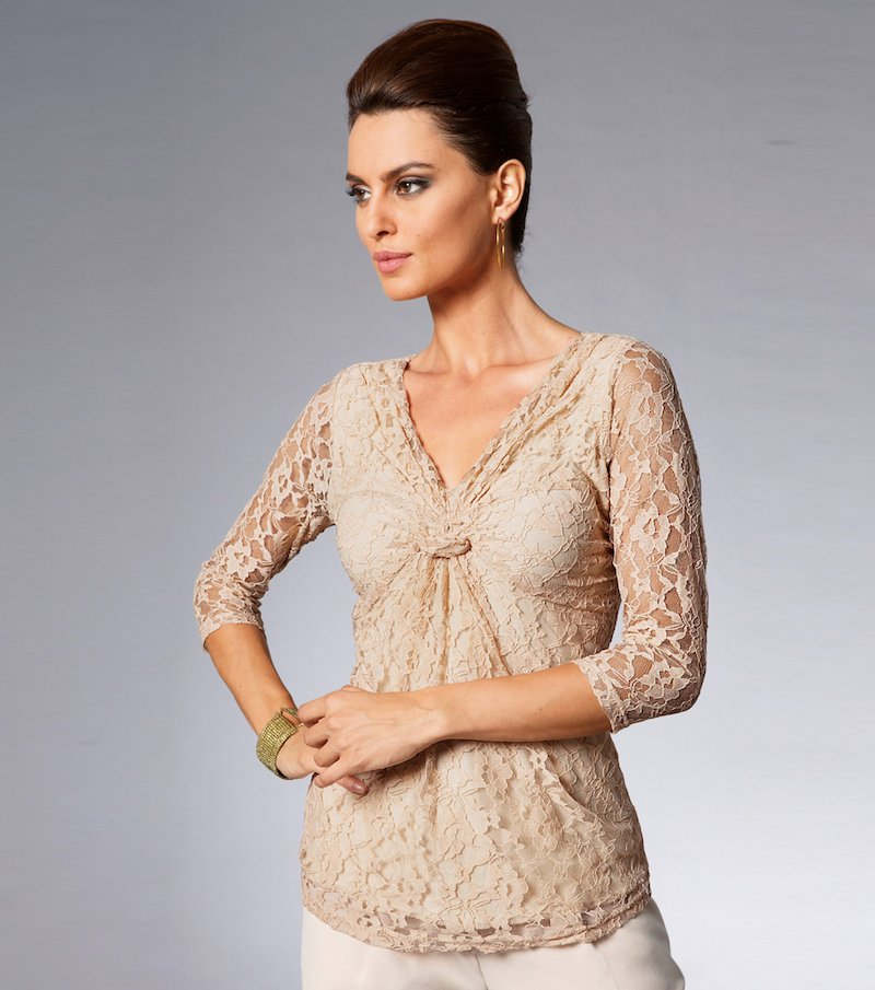 Blusa mujer manga larga blonda elástica