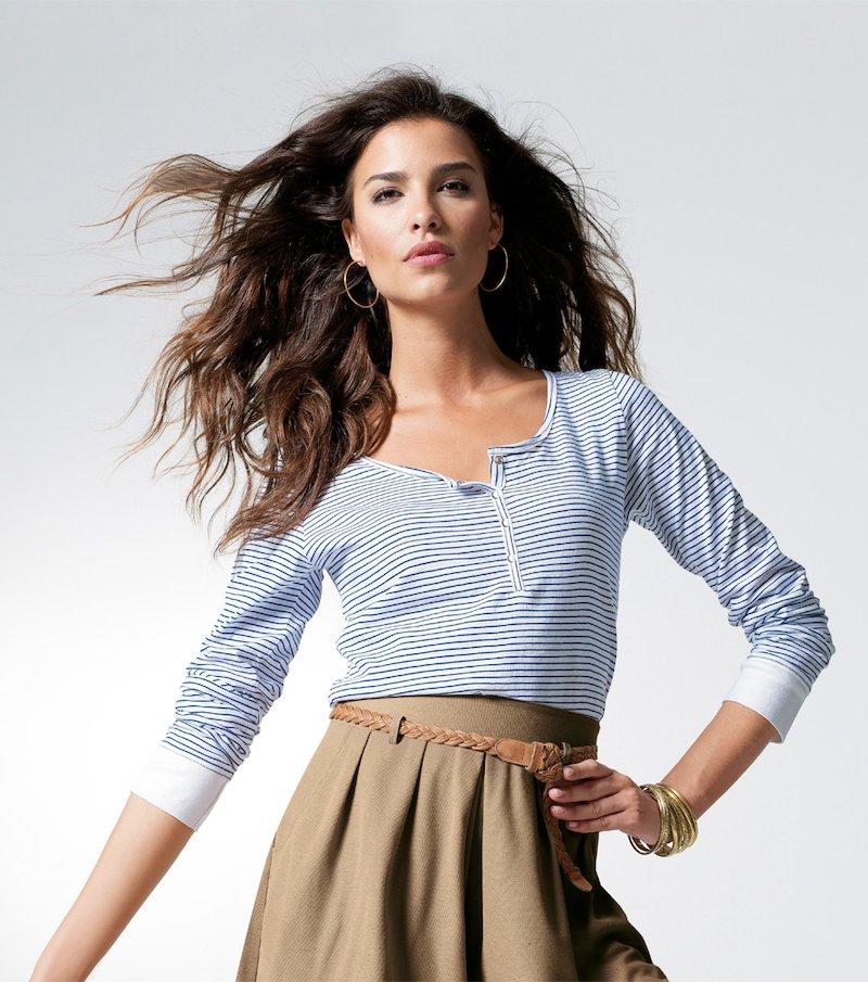 Camiseta mujer manga larga rayas 100% algodón