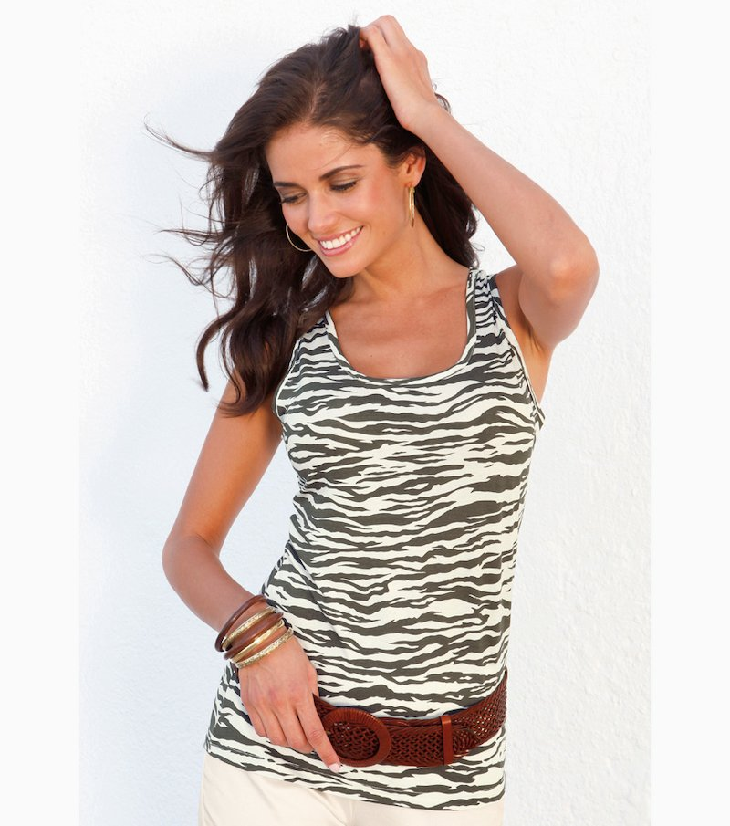 Camiseta top mujer sin mangas print cebra elástica