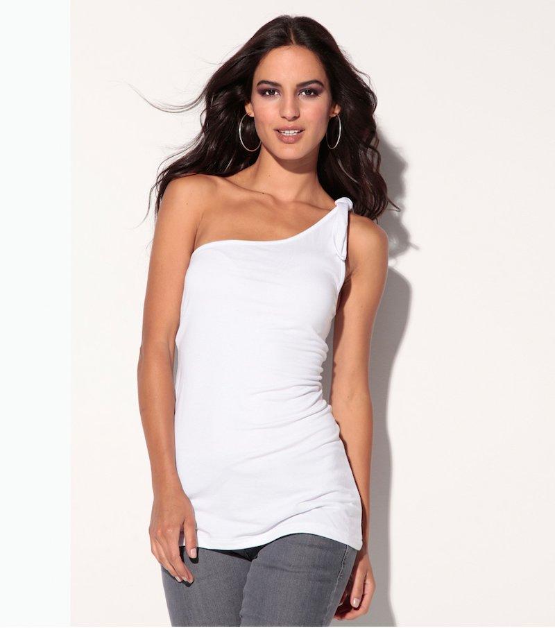 Camiseta mujer sin mangas escote asimétrico - Blanco