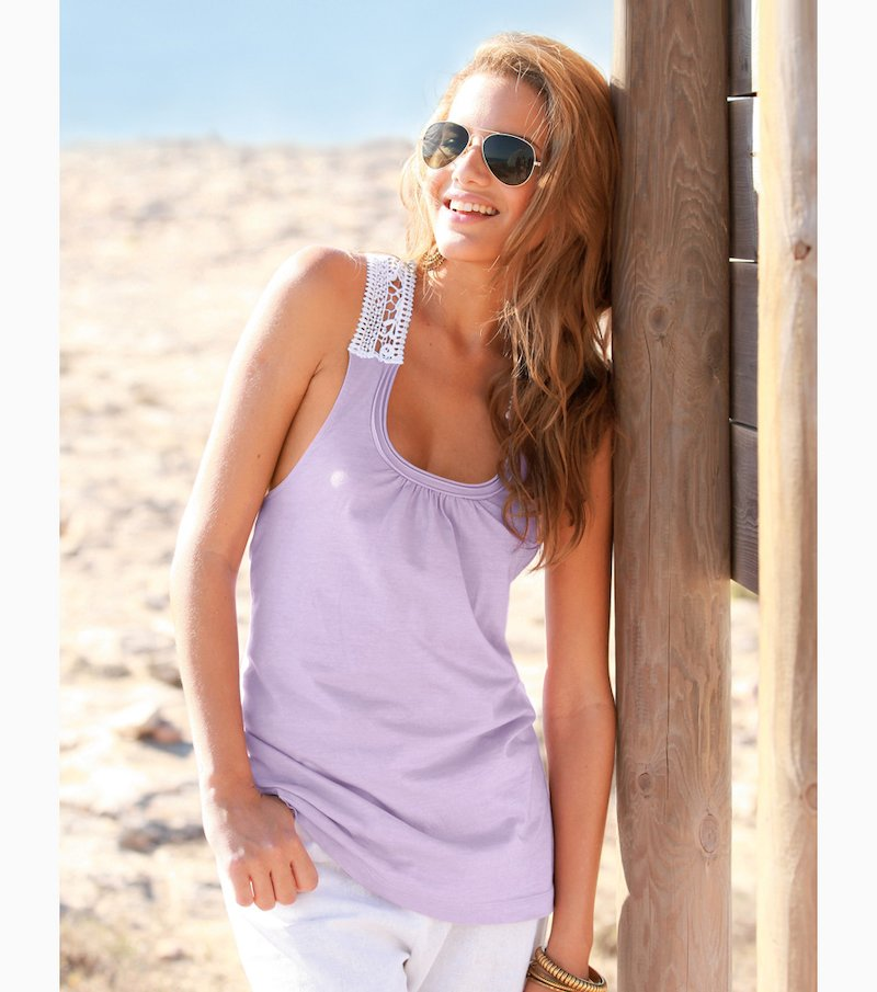 Camiseta mujer sin mangas con guipur 100% algodón - Lila