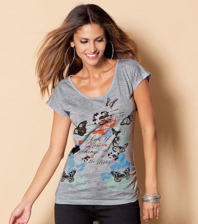 Camiseta manga corta estampada 100% algodón mujer