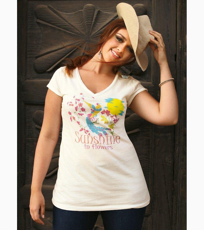 Camiseta mujer manga corta estampada 100% algodón - Beige