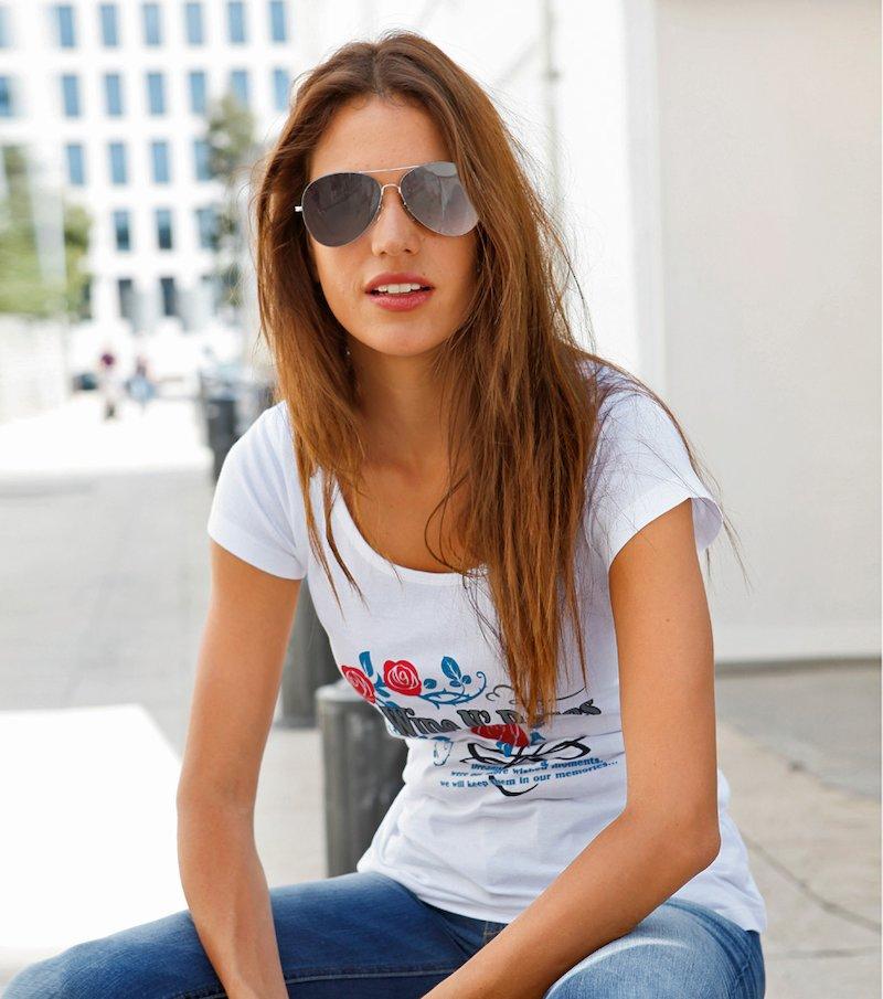 Camiseta mujer manga corta estampada 100% algodón