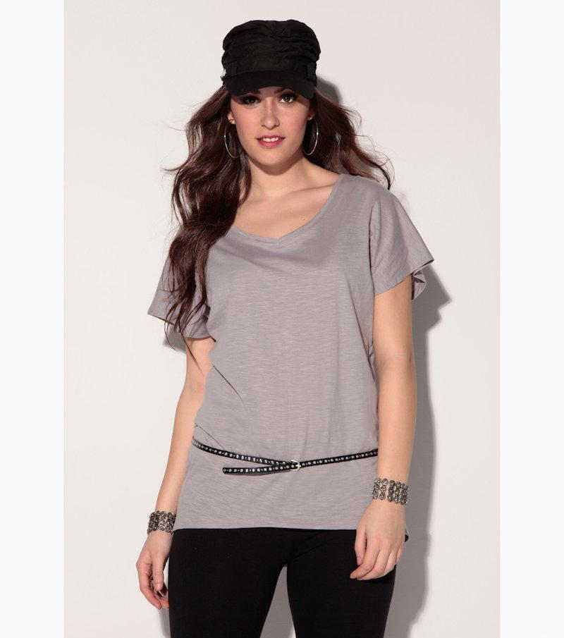 Camiseta mujer manga corta asimétrica 100% algodón