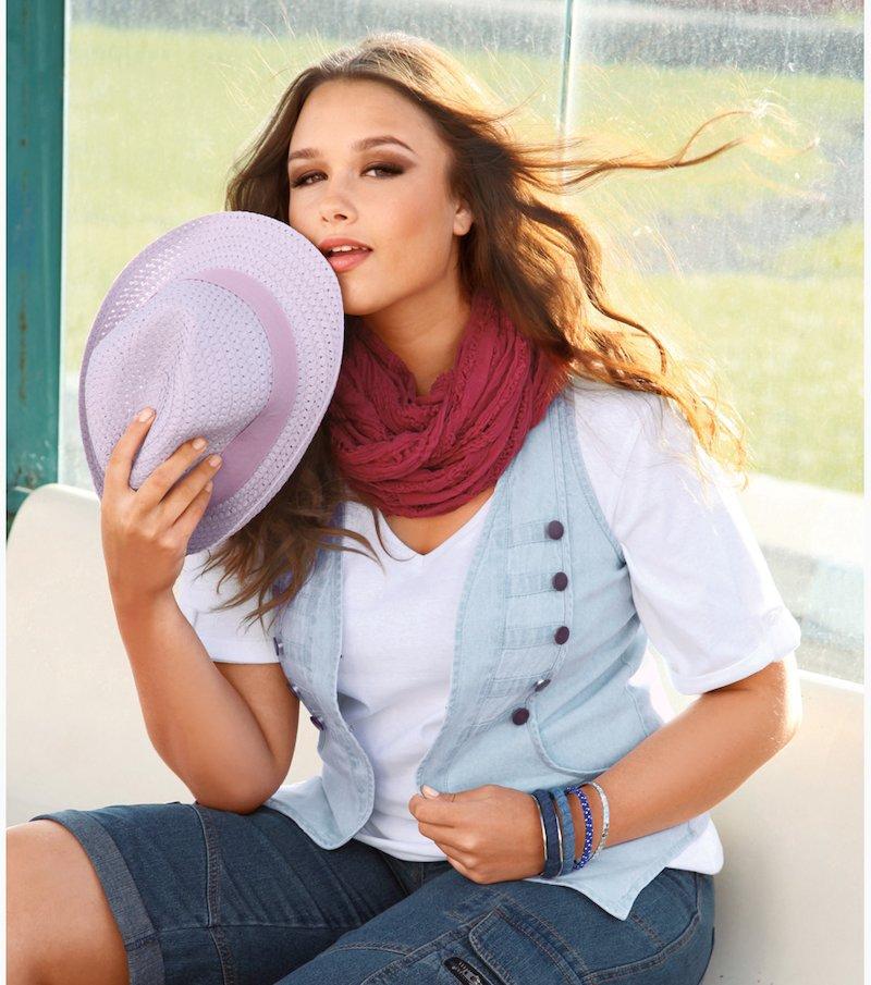 Camiseta escote V punto liso 100% algodón