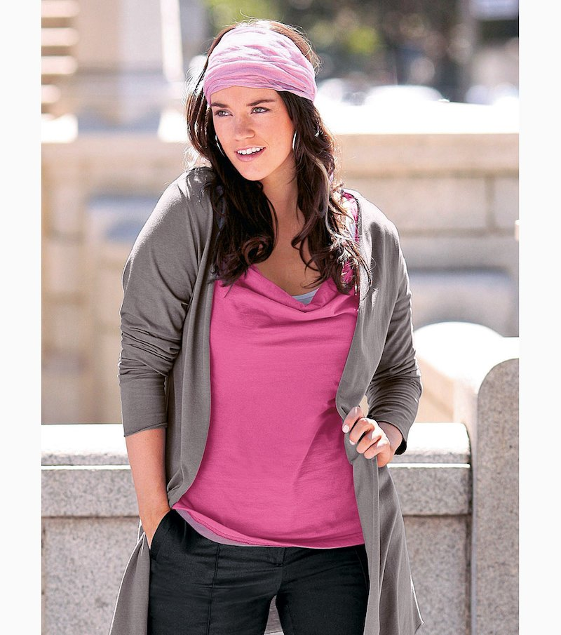 Camiseta mujer sin mangas drapeada efecto doble - Rosa