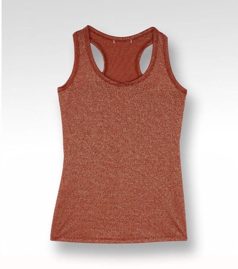 Camiseta mujer sin mangas metalizada