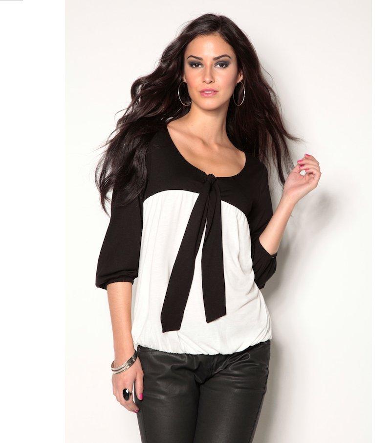 Camiseta mujer manga 3/4 bicolor con lazo - Beige