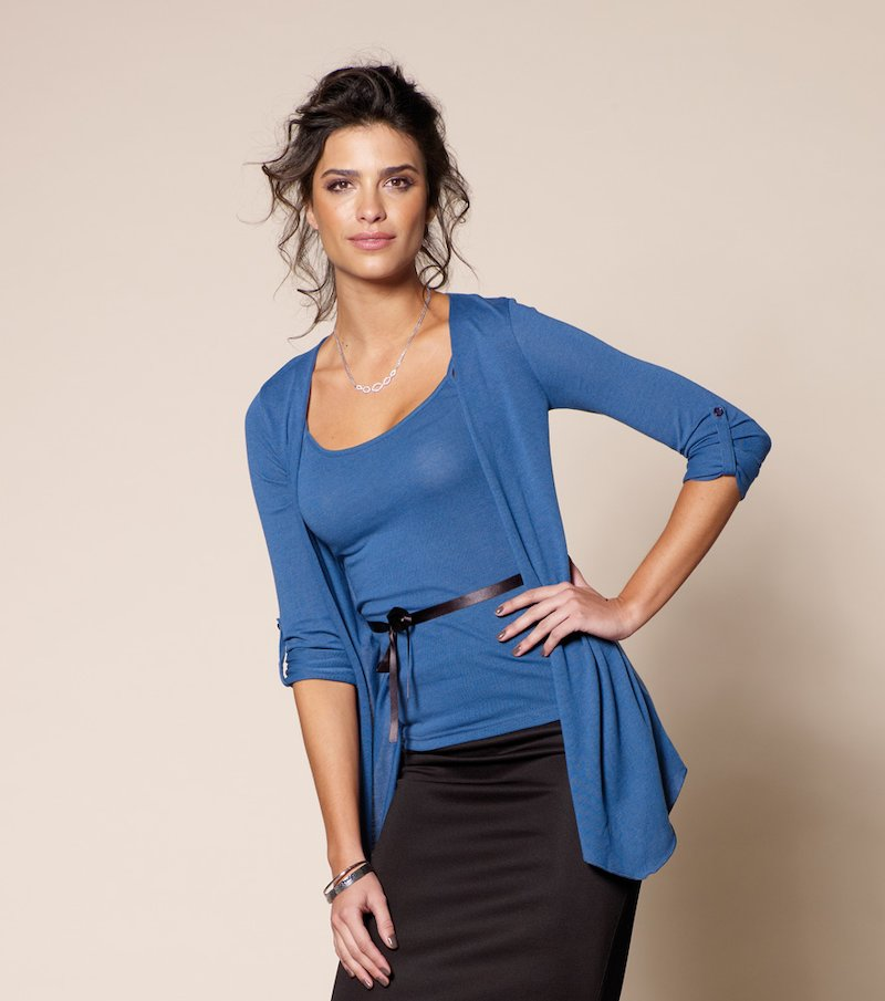 Camiseta chaqueta mujer efecto doble con cinturón