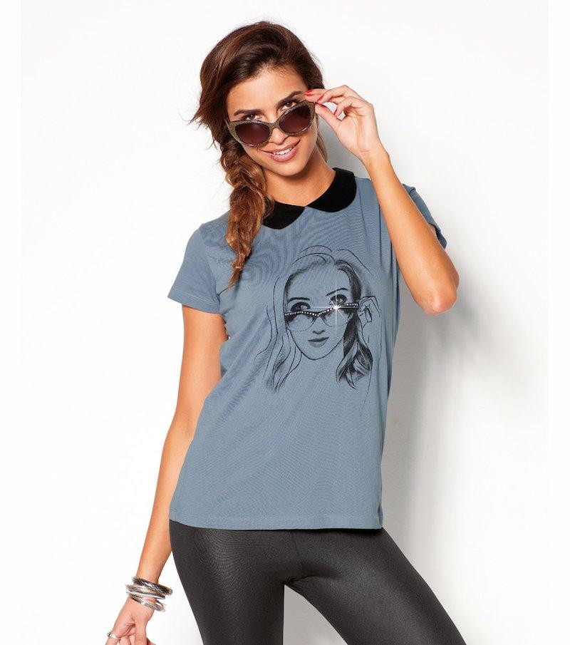 Camiseta mujer manga corta estampada con strass