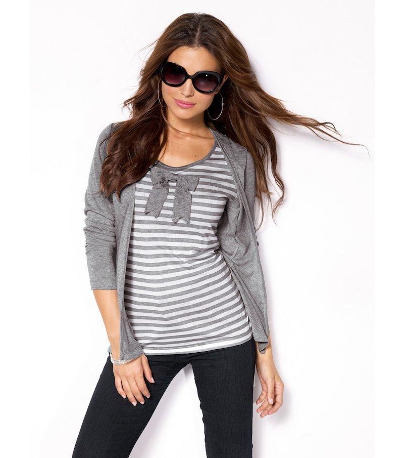 Camiseta efecto doble mujer manga larga