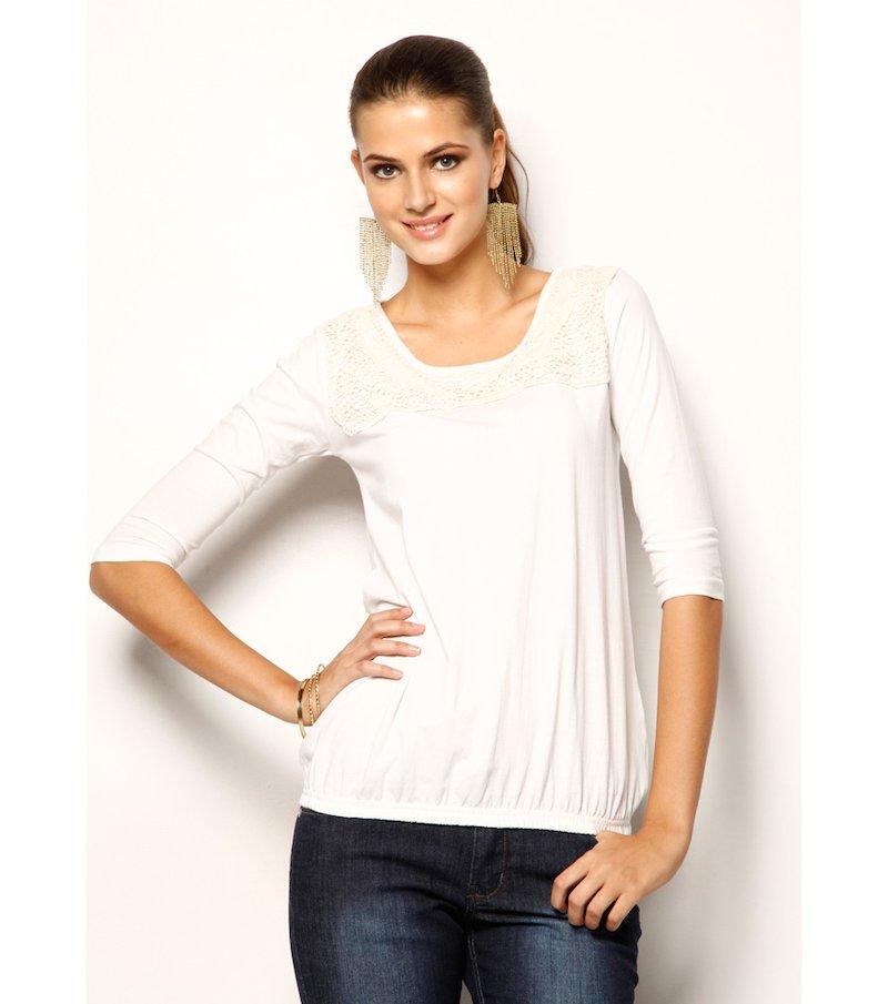 Camiseta mujer manga larga 100% algodón con guipur - Blanco