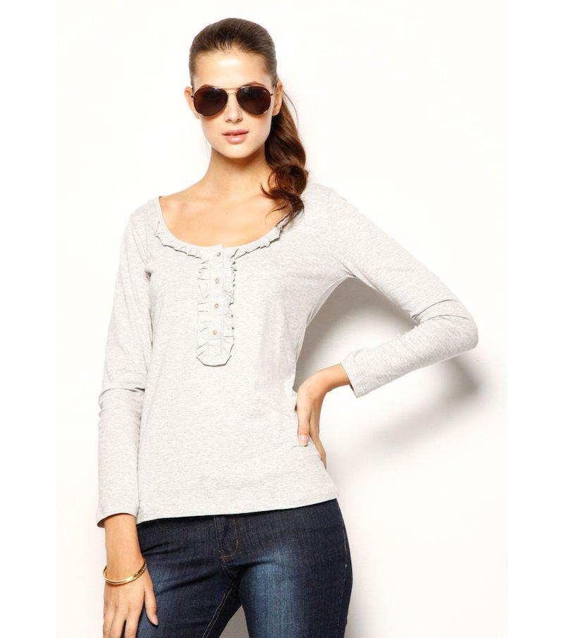 Camiseta mujer manga larga 100% algodón con guipur